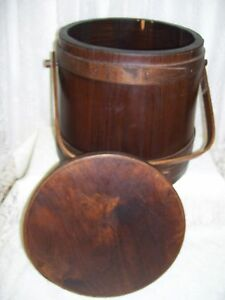 Antique Primitive Sugar Keeler Storage Box w/ Lid