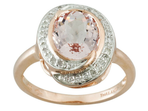 2.10CT OVAL COR-DE-ROSA MORGANITE WITH .12CTW ROUND WHITE DIAMONDS 10K ROSE 7