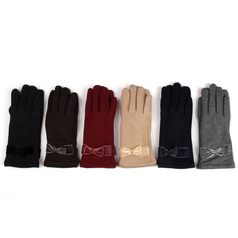 Nice Elegant Women's Winter Thermal Gloves With Bow - Different Colors