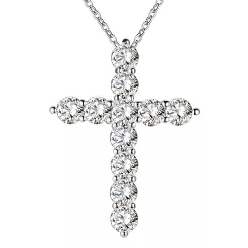 Collar de Plata Plateado Diamante Cristal Cruz Reino Unido