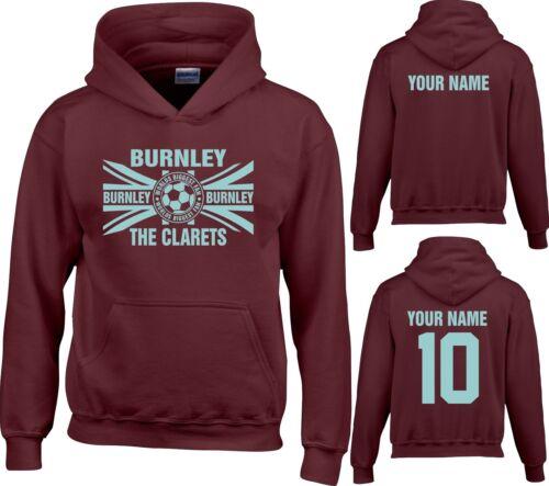 HOODIE BURNLEY childrens boys girls FREE with personalised Name football wbf