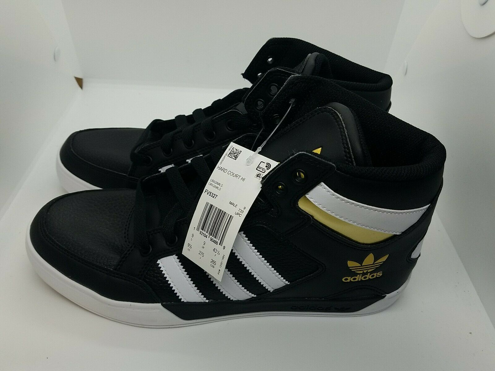 transfusión Papá Alinear  adidas Mens Hard Court Hi Big Logo Black/red /gold Athletic Shoes Size 9.5  for sale online | eBay