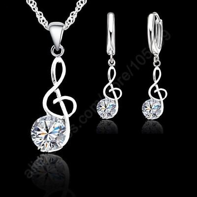 Jexxi 925 Sterling Silver Necklace /pendant & Earring Music Note Theme Jewellery Necklaces & Pendants Fashion Jewelry