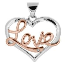 1x 925 Sterling Silver 20mm Open Heart Love Gem Set Pendant Necklace + Gift Bag