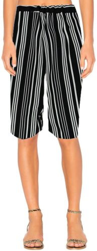 Womens New Summer Pull On Shorts Black White Stripe Elastic Waist Culottes