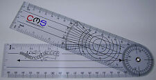 CMS Spinal Goniometer Pocket Axis Motion Range Tester 360 CM MM IN Clear Plastic