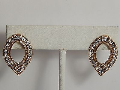 VINTAGE TEARDROP SHAPED EARRINGS RHINESTONES GOLDPLATE/TONE PIERCED
