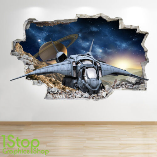 SPACE SHIP WALL STICKER WINDOW 3D LOOK GALAXY STARS BOYS BEDROOM DECAL Z543