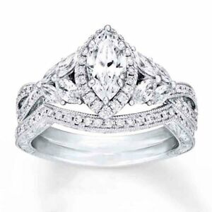 Sterling Silver 925 CZ Marquise Engagement Ring Wedding Band Bridal