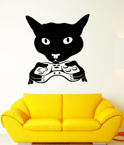 Vinyl Wall Decal Cat Head Gamer Joystick Video Game Room Stickers 1846ig