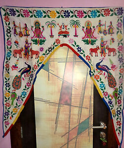 Door-Topper-Tribal-Window-Decor-Wall-Hanging-Vintage-Valance-Hand-Embroidered