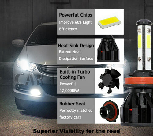 2x Bulbs H11 LED 80W 8000Lm White 6000K Low Beam Honda Civic X 3-Door 2016-on