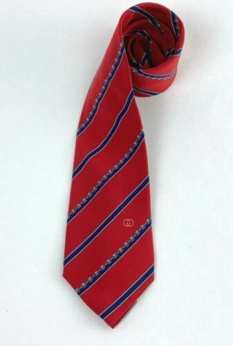 Gucci Vintage Mens Red Blue Gray 100% Silk Neck Ti