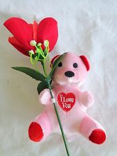 """TEDDY BEAR with FABRIC ROSE 13"""" Pink Plush I Love You Heart Valentine"""