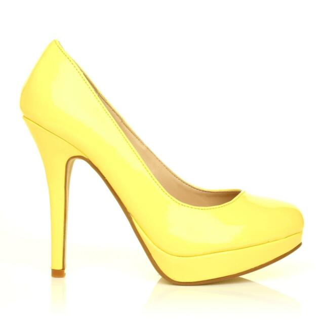 f145b560192 Eve Yellow Patent PU Leather Stiletto High Heel Platform Court Shoes UK 5  EU 38