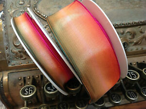 """Vintage Ribbon Rayon Acetate Ombre 5/8-1.5"""" Watermelon 1yd Made in France"""