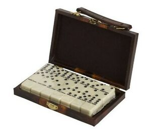 Dominoes Double 6 Six Standard Size Ivory Tile Brass Spinners Leatherette Case