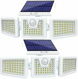 2Pcs-Solar-Lights-Outdoor-DEL-etanche-Detecteur-de-mouvement-eclairage-3-reglable-Heads