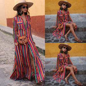 Fashion-Womens-Long-Sleeve-Striped-Multicolor-Button-Bohe-Beach-Long-Robe-Dress