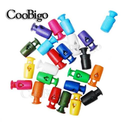 100X Assorted Colors Cord Lock Stopper Cylinder Barrel Toggle Clip Rope Plastic