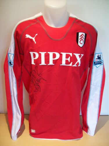 Luis Boa Morte Signed Game WornIssued Fulham Shirt Season 200506 AFTALUACC RD