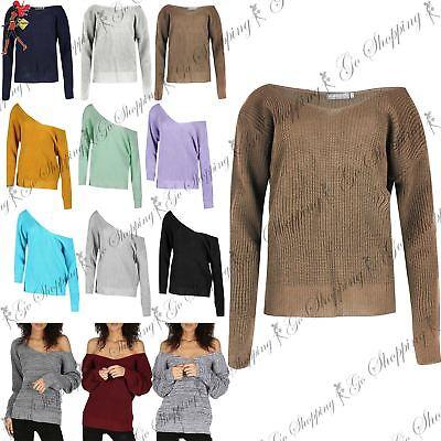 Damen V Plunge Überdimensional Grob Gestrickt Langer Pullover Pullover Kleid Top