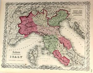 """Colton's.""""NORTHERN ITALY Plate 103"""" - Hand-Colored, Lithographed Map -1855"""