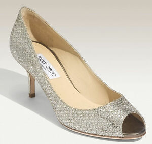 a8e24cb5a89  595 Jimmy Choo ISABEL Champagne Glitter Fabric Open Toe Pump Shoe ...