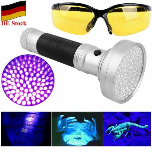 DE 100 LED 395nm UV Taschenlampe mit Schutzbrille KFZ Klimaanlage Lecksuch Lampe