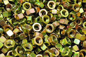 (200) 1/2-20 Grade 8 Hex Finish Nuts - Yellow Zinc Plated - Fine Thread