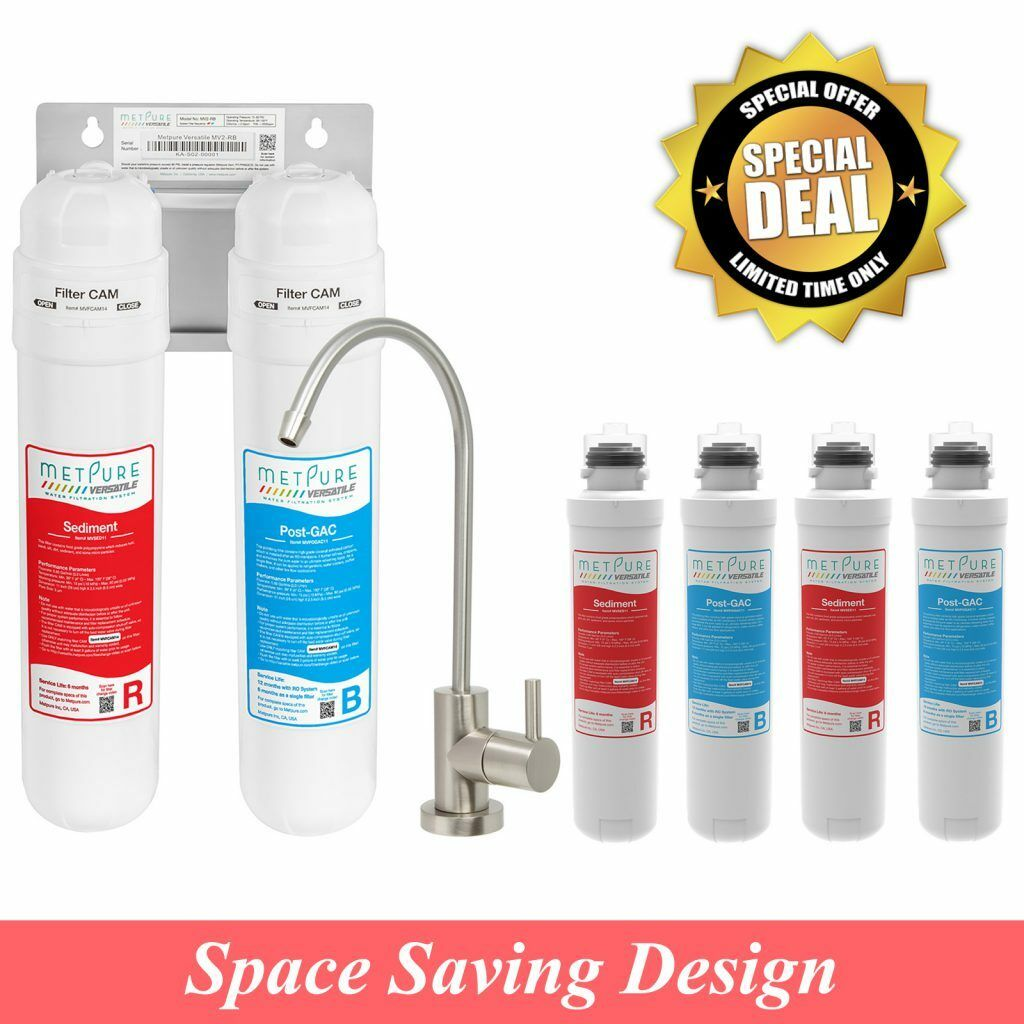 RO Drainless Tankless Portable Water Filter System w  Faucet + 4 Extra Filters