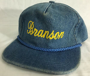 Image is loading Branson-MO-Blue-Denim-Colored-Distressed-Trucker-Hat- bc5700b9762