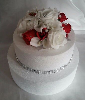 Artificial Flower Wedding Anniversary,Cake Topper White Red Hand Crafted