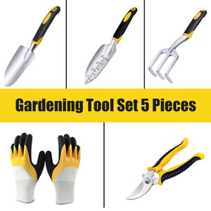 US!New! Set of 5 Garden Tool Set Gardening Kit with Soft Rubberized Handle Tools