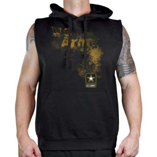 Men/'s Grunge Army Star Black Sleeveless Vest Hoodie Workout Fitness US Military