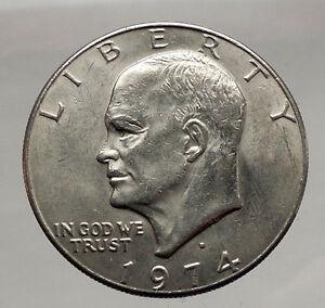 1974-President-Eisenhower-Apollo-11-Moon-Landing-Dollar-USA-Coin-Denver-i46179