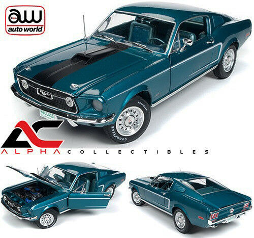 AUTOWORLD AMM1132 1:18 1968 FORD MUSTANG FASTBACK 2+2 50TH ANN  BLUE