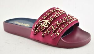 36adea75c978 NIB Chanel Fuchsia Pink Red Gold Chain Iconic CC Logo Mule Slide ...