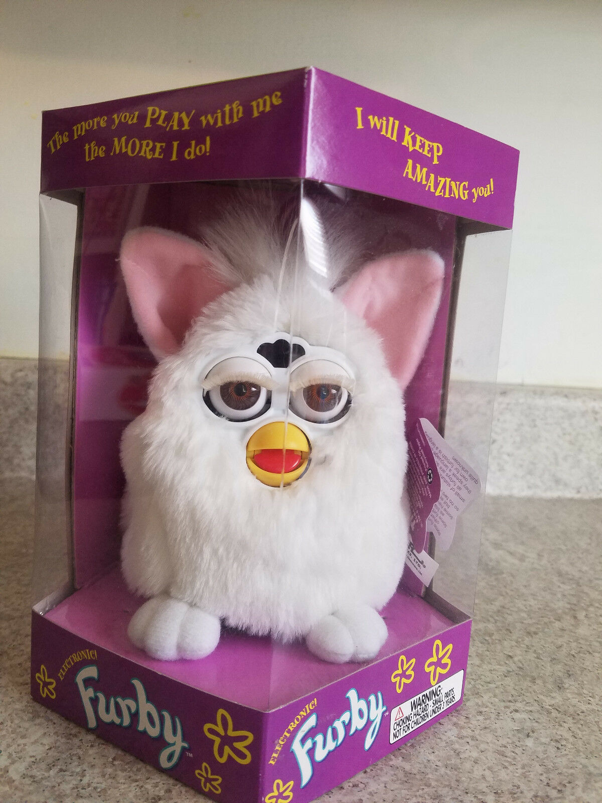 NRFB  FURBY 1998 Tiger Electronics Model-70-800 All White vintage toys