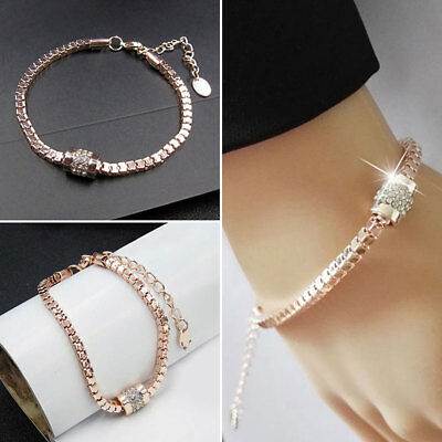 Women's Rhinestone Rose Gold Plated Crystal Bracelet Bangle Fashion Jewelry