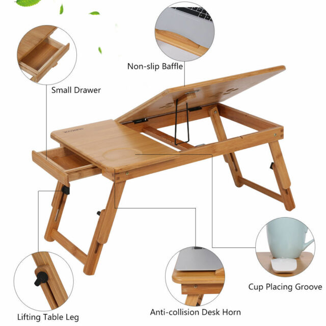 Bamboo Computer Desk Stand Laptop Bed Table Tray Adjustable Height Home Office