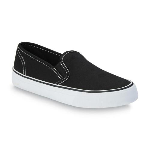 Joe Boxer Women/'s Reid Black//White Slip-On Shoes #40400 Pick your Size