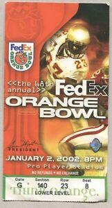 2002-January-Fed-Ex-Orange-Bowl-Florida-Gators-Maryland-Terrapins-Ticket-Stub