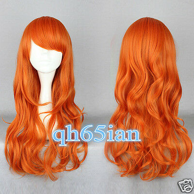 2017 Women Long wig Curly Orange Synthetic Girls Cosplay Party Wigs+wig cap