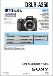 sony dslr a350 service repair manual ebay rh ebay com Sony A900 sony alpha 700 service manual