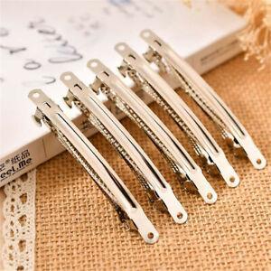 10x-Silver-Metal-French-Barrette-Hair-Clip-Alligator-Headwear-Accessory-DIY
