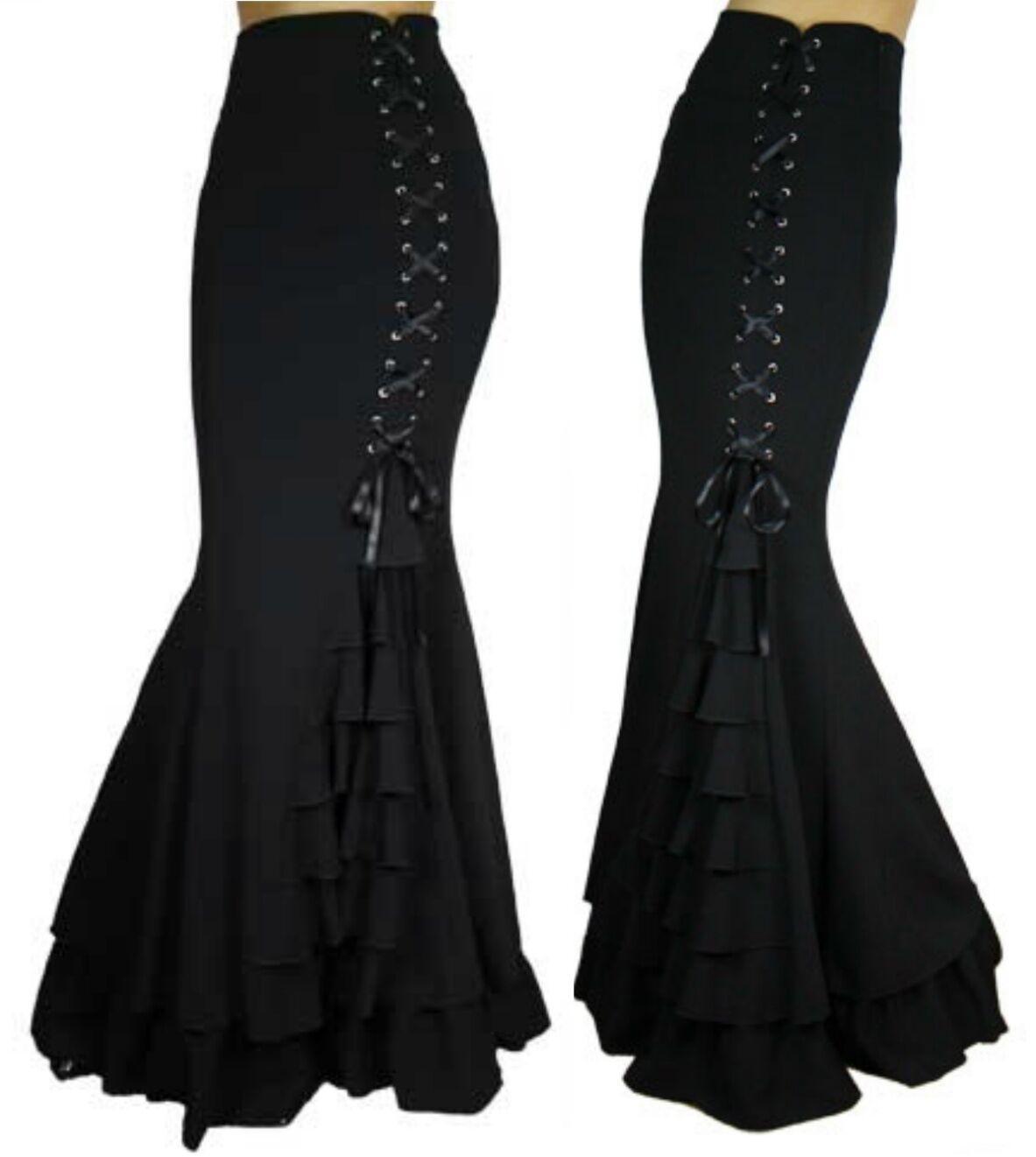 ANT 50190 Gothic Rock Bodenlang Rüschen Lolita Steampunk Viktorian schwarz