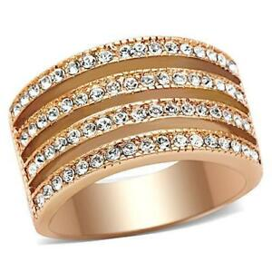 Rose-gold-band-ladies-ring-cz-12mm-wide-comfort-steel-chunky-all-sizes-new-492