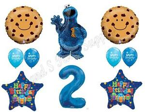 Image Is Loading COOKIE MONSTER 2nd Birthday Party Balloons Decoration Supplies