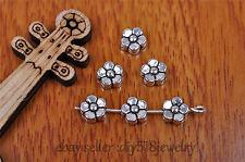 50pcs 6mm spacer bead club flower Charm Jewelry Diy Bracelet Tibet Silver 7187